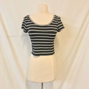 Mossimo Black Striped Short Sleeve Crop Top Size S